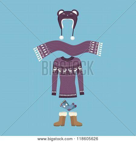 Set of Warm Winter Clothes Design