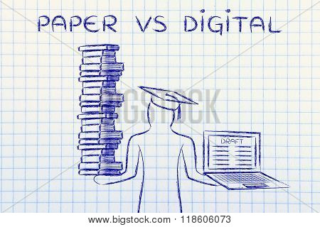 Graduate Holding Books And Laptop With Thesis Draft, Paper Vs Digital