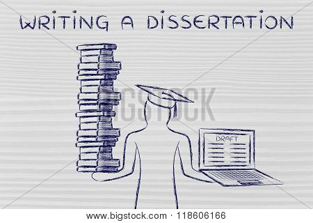 Writing A Dissertation, Graduate Holding Books And Laptop With Draft