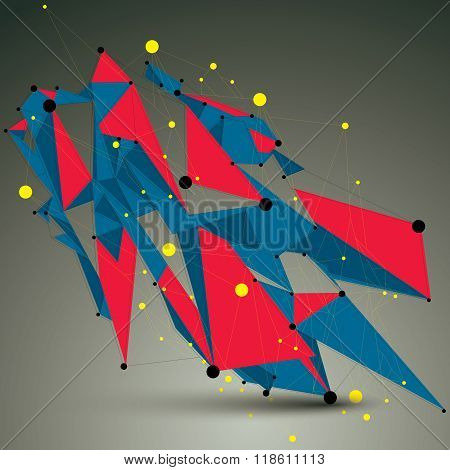 Geometric Bright Polygonal Structure With Lines Mesh, Vector Modern Lace Science And Technology Elem