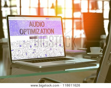 Laptop Screen with Audio Optimization Concept.