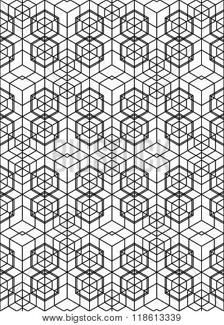 Futuristic Continuous Contrast Pattern, Illusive Motif Abstract Background With Geometric Figures. M