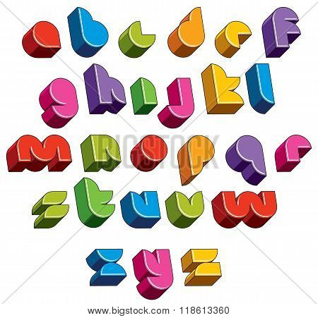 3D Font, Vector Bright Letters.