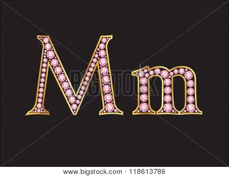 Mm Rose Quartz Jeweled Font With Gold Channels