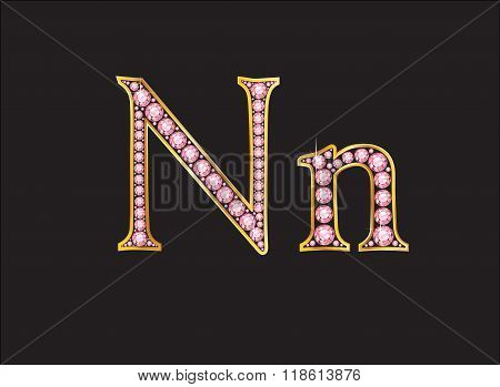 Nn Rose Quartz Jeweled Font With Gold Channels