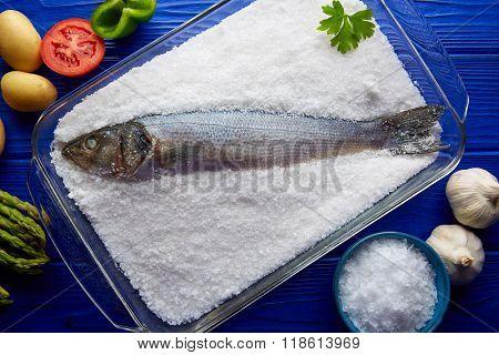 Sea bass baked in sea salt seabass crusted from Mediterranean lubina