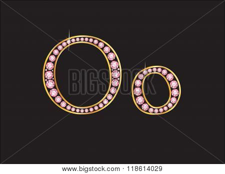 Oo Rose Quartz Jeweled Font With Gold Channels