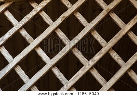 Decorative Wooden Lattice To The External Design Of The Building
