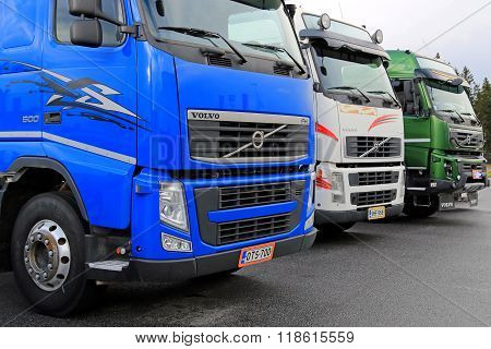 Row Of Colorful Volvo Trucks