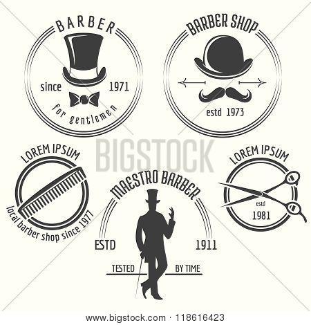 Gentleman barber shop labels