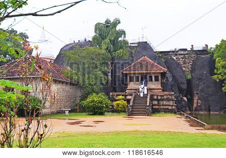 Sri-Lanka Anuradhapura December 30 2015- Budda Temple in the Rock