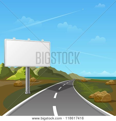 Road billboard with landscape background