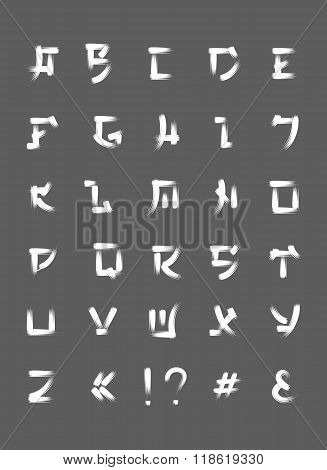 Japanese brush font, vector font letters in japan style