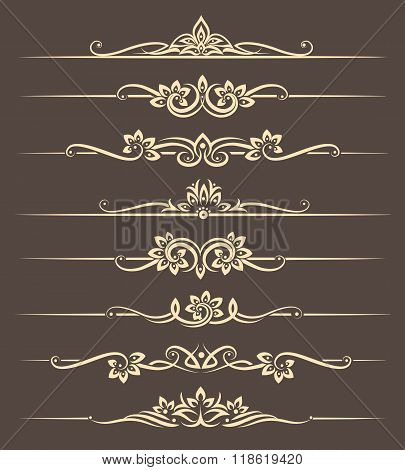 Calligraphic design elements, page dividers with thai ornament. Divider ornament page, ornate vector illustration poster