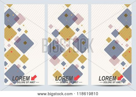 Set of the vector flyers. Background with colorful scuares . Modern stylish design