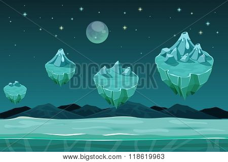 Frozen game planet horizontal seamless background, pattern with ice islands