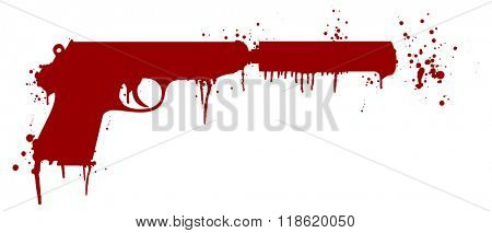 illustration of a handgun with silencer covered in blood splatter, eps10 vector