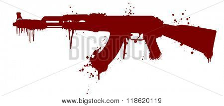 illustration of an automatic gun silhouette with blood splatter, eps10 vector