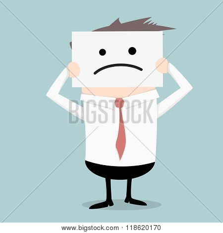 minimalistic illustration of a businessman hiding his face behind a sad mask, eps10 vector
