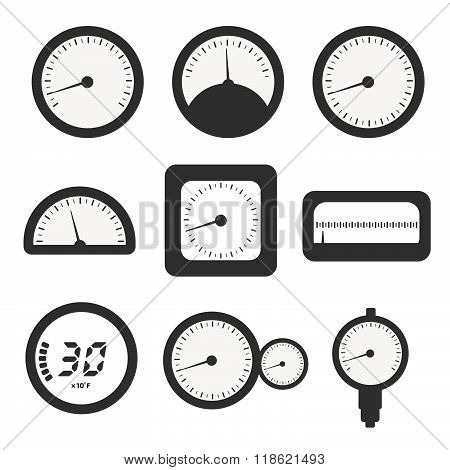Manometer set, pressure and Temperature gauge set icons. Vector illustration