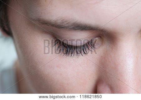 Macro Shot Of A Male Model Eye Lashes