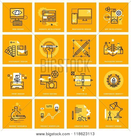 Thin line web icons of web design and development