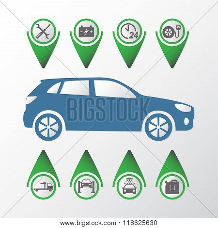 Car service Infographics. Auto service and repair icons set. Vector illustration.