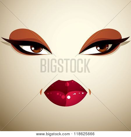 Coquette Woman Eyes And Lips, Stylish Makeup. People Negative Facial Emotions, Anger.