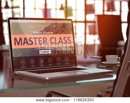 Laptop Screen with Master Class Concept.