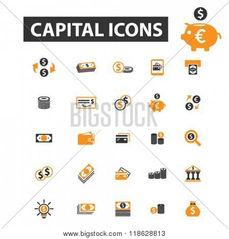 capital icons, capital logo, investment icons vector, investment flat illustration concept, investment infographics elements isolated on white background, investment logo, investment symbols set