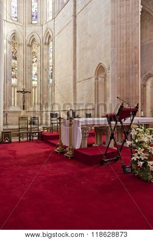 Batalha, Portugal - March, 2015: Batalha Monastery. Altar and Apse of the Church. Gothic and Manueline masterpiece. Portugal. UNESCO World Heritage Site.