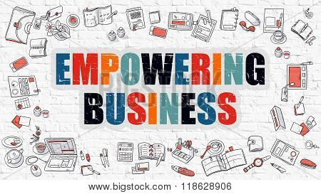 Empowering Business Concept with Doodle Design Icons.