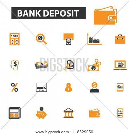bank deposit icons, bank deposit logo, bank icons vector, bank flat illustration concept, bank infographics elements isolated on white background, bank  logo, bank symbols set, banking, money, deposit