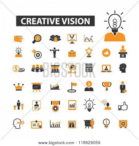 creative icons, creative logo, creative idea icons vector, creative idea flat illustration concept, creative idea logo, creative idea symbols set, creative design, creative process, innovation