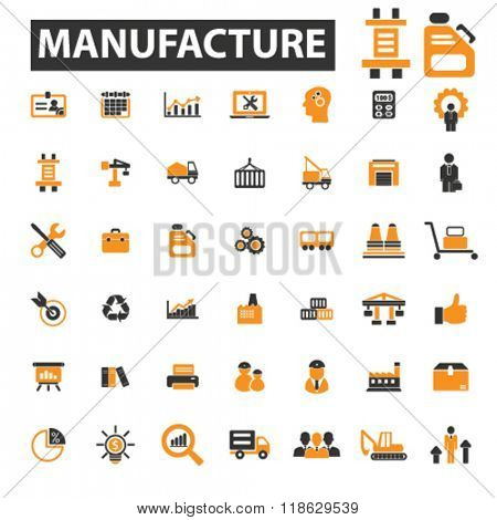 manufacture icons, manufacture logo, industry icons vector, industry flat illustration concept, industry infographics elements isolated on white background, industry logo, industry symbols set