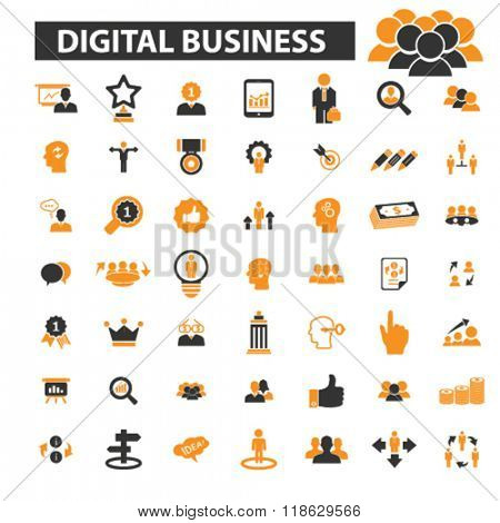 internet business icons, internet business logo, digital business icons vector, digital business flat illustration concept, digital business logo, digital business symbols set, online business