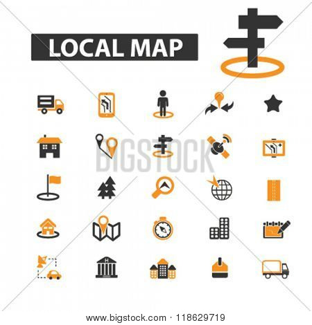 local map icons, local map logo, map icons vector, map flat illustration concept, map infographics elements isolated on white background, map logo, map symbols set, navigation, direction, road, travel