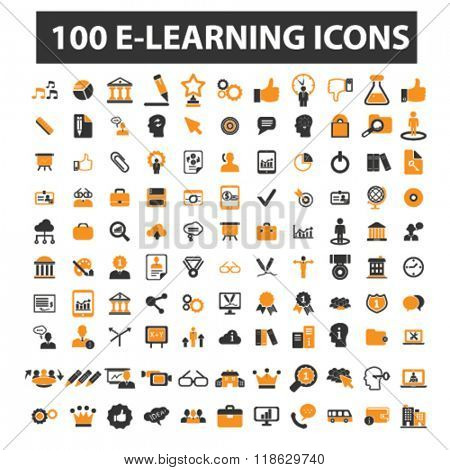 learning icons, learning logo, e-learning icons vector, e-learning flat illustration concept, e-learning infographics elements isolated on white background, e-learning logo, e-learning symbols set