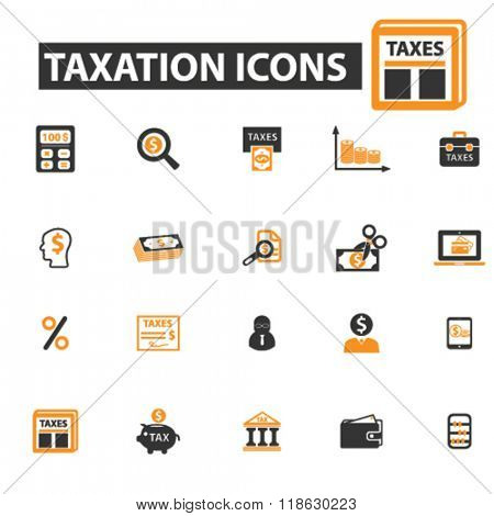 taxation icons, taxation logo, tax icons vector, tax flat illustration concept, tax infographics elements isolated on white background, tax logo, tax symbols set, debt, taxes, tax time, savings