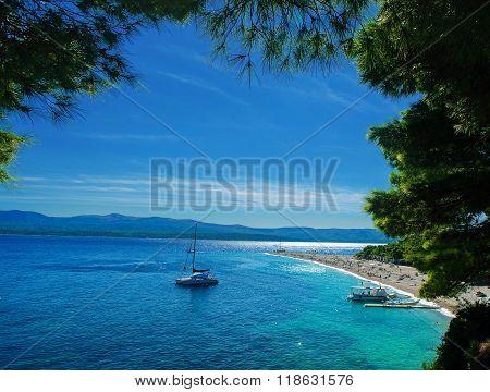 Beautiful beach Zlatni Rat - Golden Cape in Croatia