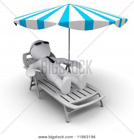 man on holidays under sun umbrella
