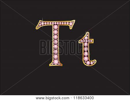 Tt Rose Quartz Jeweled Font With Gold Channels