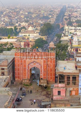 Aerial View Of Suraj Pol, Jaipur, Rajasthan, India.