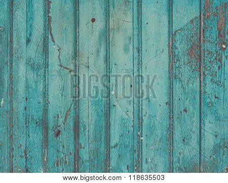 Old painted cracky blue turquoise wooden texture. Vintage rustic
