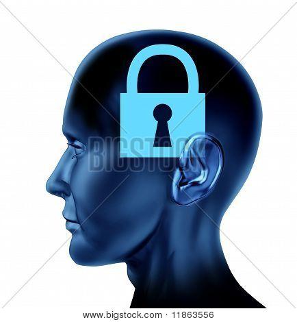 locked memories inside a human brain symbol.