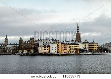 View Of Riddarholmen And Gamla Stan From The Kungsholmen Island In Stockholm