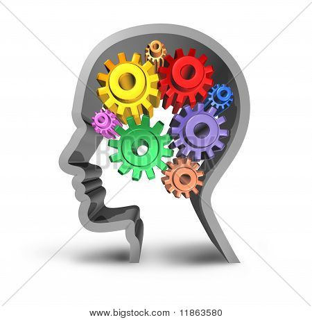 Brain Function with gears and cogs.