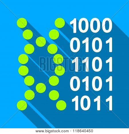 DNA Code Flat Long Shadow Square Icon