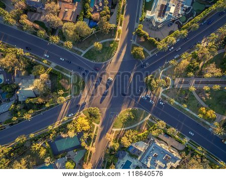 Aerial view of famous 6-way stop street intersection in Beverly Hills, Los Angeles, California.