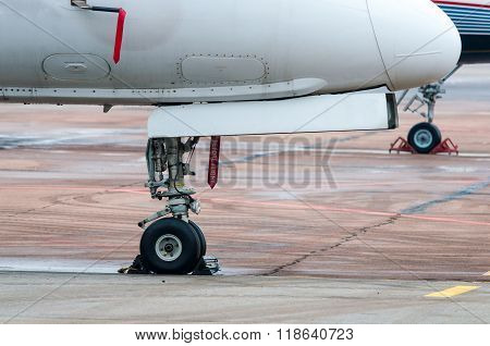 Undercarriage of the aircraft, plane at The airport.